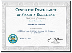 Center for Development of Security Excellence Certificate of Training