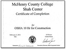 McHenry County College Shah Center Certificate of Completion