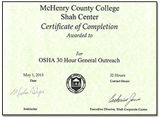 OSHA 30 Hour General Outreach Certificate of Completion
