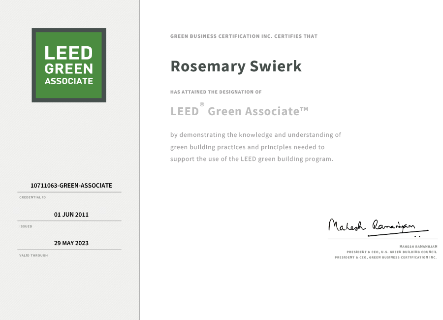 Leed Green Associate Certificate